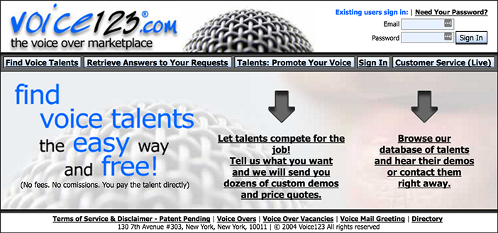The Original Home Page Of Voice123